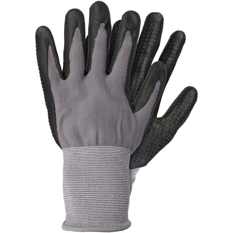 Tuin werkhandschoenen grijs zwart 6 paar maat l