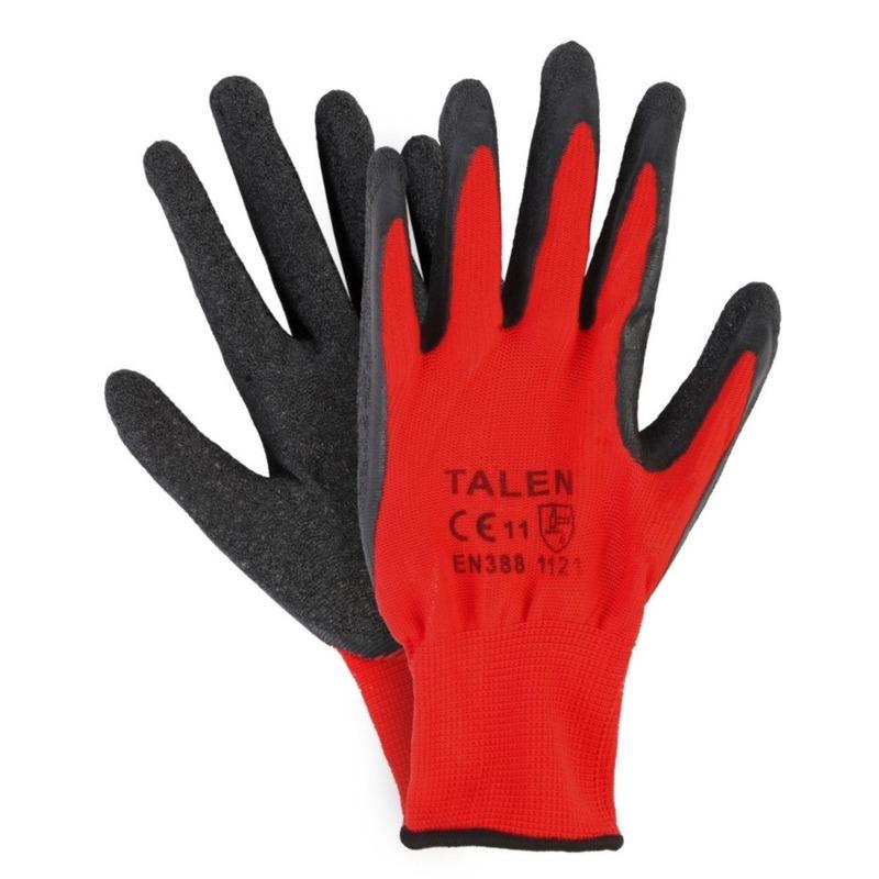 Tuin werkhandschoenen rood zwart 6 paar maat l